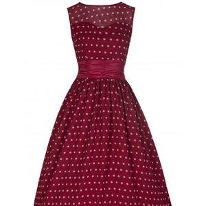 Lindybop Burgundy Polka Dot Swing Dress